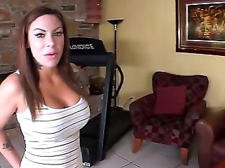 Sexy Dark-haired Massages Her Boyfriends Ginormous Rod And Gives Him A Deep Gullet Blow-job