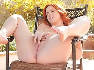 Huge-titted Red-haired Spreads Her Gash And Plays With Tits Outdoors