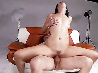 Brown-haired Does Her Best To Make Horny Fellow Jism