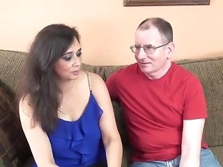 Old Fellow Gets To Fuck A Adorable Buxom Mummy On The Couch