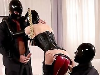 Dirty Spandex Threesome With The Dom Woman And Her Masculine Slaved