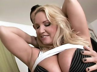 Blonde With Giant Hangers Is Tugging A Man Rod And Does It Rear End Style