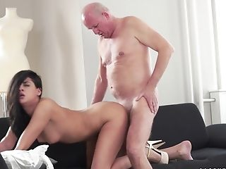 Bitchy Teenager  Coco De Mal Rails An Old Man-meat