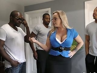 Mouth Watering Mummy Amber Lynn Bach Is Fucked By A Few Black Dudes